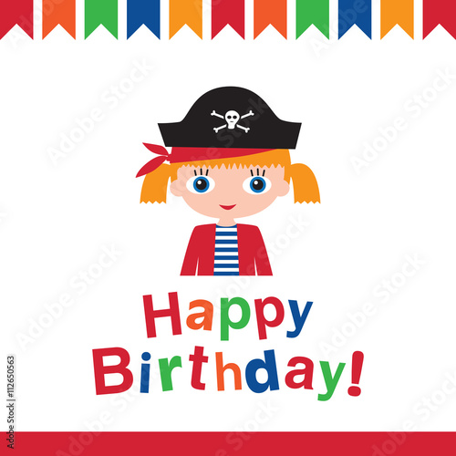 Happy Birthday Greeting Card Pirate Birthday Vector Illustration