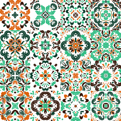 Foto auf AluDibond Marokkanische Fliesen Mexican stylized talavera tiles seamless pattern. Background for design and fashion. Arabic, Indian patterns