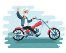 Old Cartoon Biker Ride Ahe Motorcycle