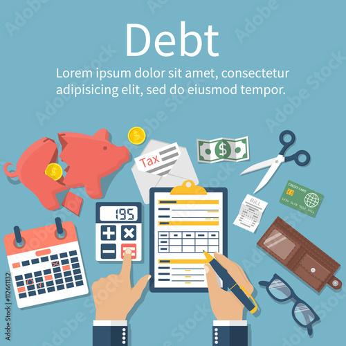 Fotomural Debt concept vector