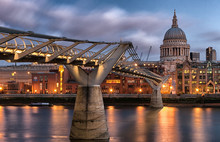 View Of St Paul's Cathedral Church And Millennium Bridge At Night