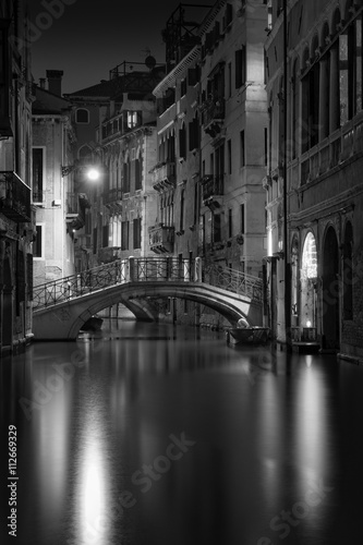 B&W Photo of Venice at Night Poster