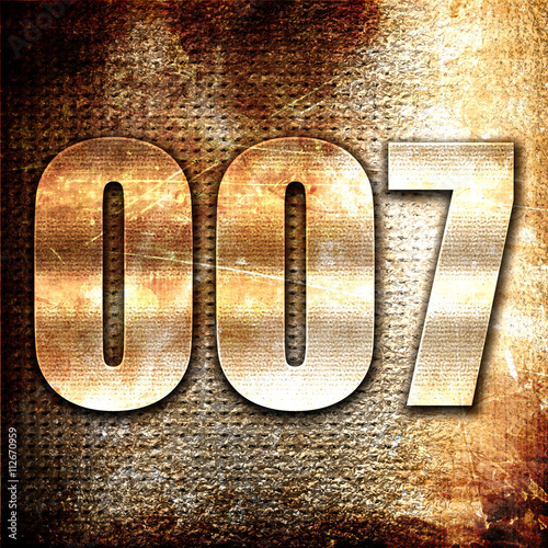 007, 3D rendering, metal text on rust background плакат