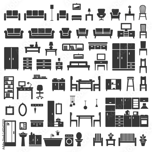 Fotografía  Vector home furniture silhouette icons set 1.