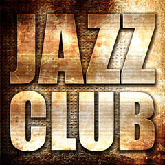 Obraz jazz club, 3D rendering, metal text on rust background