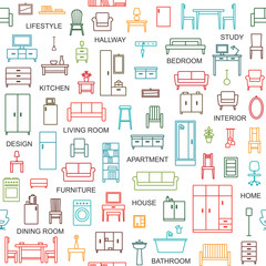 Vector seamless pattern background with home furniture outline icons 4.