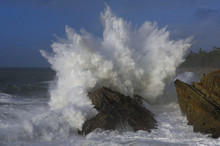 Crashing Waves On Rock In Ocean