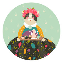 Cute Cat With Teapot And Cakes Wearing Dress