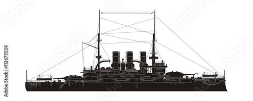 Fototapeta Russian Navy Cruiser Potemkin Vector Silhouette