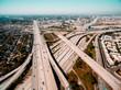 Aerial drone view of freeways in Los Angeles