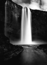 Icelandic Waterfall In Black And White