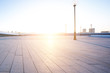 empty square with cityscape and skyline at sunrise in harbin