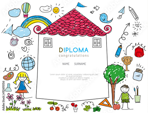 Kids diploma preschool certificate elementary school design template kids diploma preschool certificate elementary school design template background vector illustrator yelopaper Images