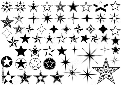 Fotografie, Obraz  Vector Collection of Star Isolated on White Background - Black Illustration