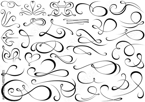 Fotografie, Tablou Calligraphic Shapes Collection - Design Elements Illustration, Vector