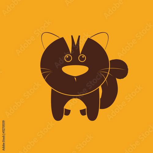 Fotobehang Draw Cute cat silhouette