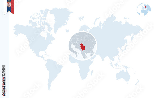 Fotomural Blue world map with magnifying on Serbia.