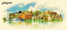 GLASGOW City Water Color Panoramic Vector Illustration