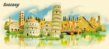 TUSCANY City Water Color Panor...