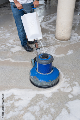 Cleaning Black Granite Floor With Machine And Chemical Buy This