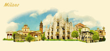 Vector Panoramic Water Color Illustration Of MILANO City