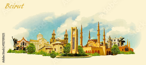 Canvas vector panoramic water color illustration of BEIRUT city