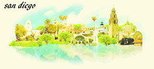 SAN DIEGO Vector Panoramic Water Color Illustration