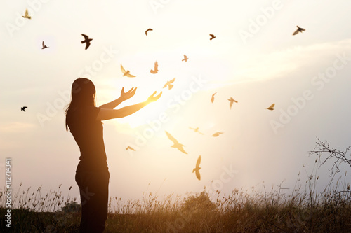 Canvas Print - Freedom of life, free birds and woman enjoying nature in sunset background