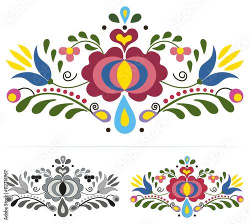 Photo  Colored slovak folk ornaments