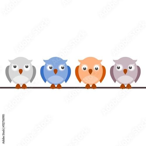 Poster Oiseaux, Abeilles Set of owls
