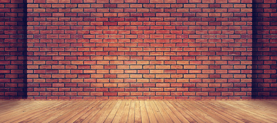 Fototapeta Red brick wall texture and wood floor background