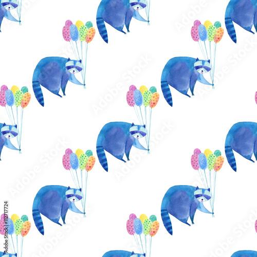 Bezszwowy wzór z błękitnym szop pracz i kolorowym balonem Akwareli ręka rysująca ilustracja Biały tło Zwierzęta ilustracyjne.