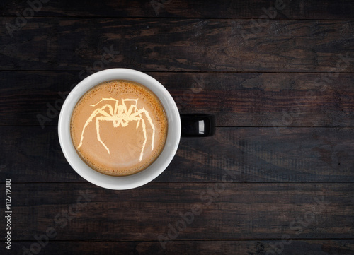 Foto op Plexiglas Latte art - portrait of kangaroo made on froth on a cup of coffee. Top view with copy space
