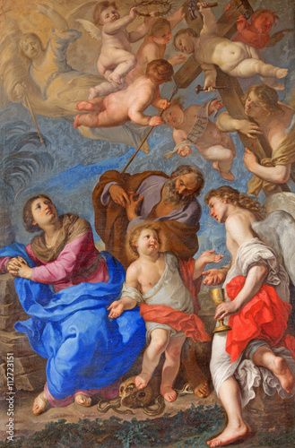 ROME, ITALY - MARCH 9, 2016: The Holy Family with angels and symbols of the passion by Bernardino Mei (1659) in transept of church Basilica di Santa Maria del Popolo.