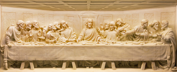ROME, ITALY - MARCH 10, 2016: The Last Supper marble relief on the altar of church Basilica di Santa Maria Ausiliatrice by unknown artist.