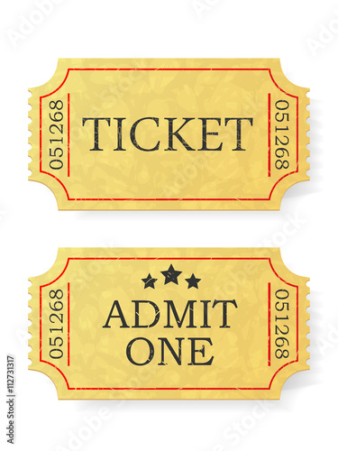 Vintage admit one ticket isolated on white background. Canvas Print