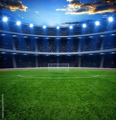 Plakat stadion piłkarski z jasnymi światłami
