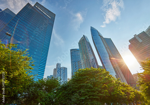 Photo  Skyscrapers in central business district of Singapore