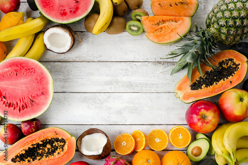 Tropical fruits. Wallpaper Mural