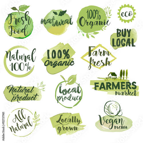 Fotografiet  Hand drawn watercolor stickers and badges for organic food, restaurant and natural products