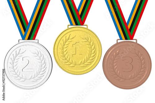 Fotografía  Medaglie Podio 123 Medaglie olimpiche: Oro, Argento e Bronzo con nastro con i colori olimpici