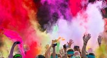 Close-up Of Color Run Marathon.
