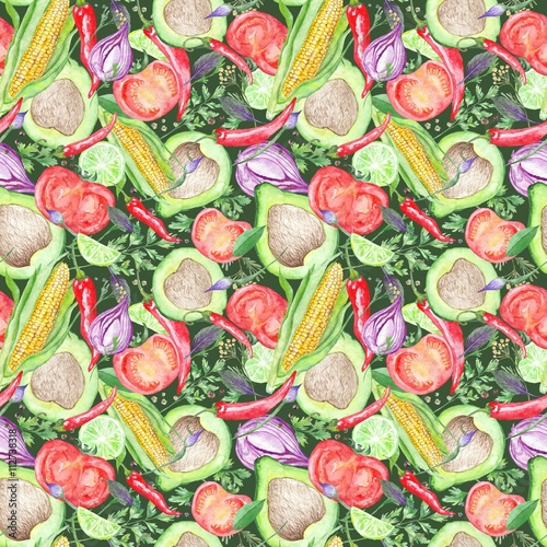 Seamless Texture with Watercolor Vegetables - 112738318