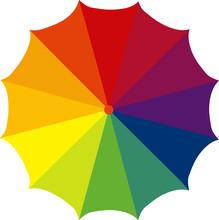 Umbrella, Colorful Open And Closed Umbrella