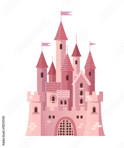 Illustration of a Cute Pink Castle vector - 112747315