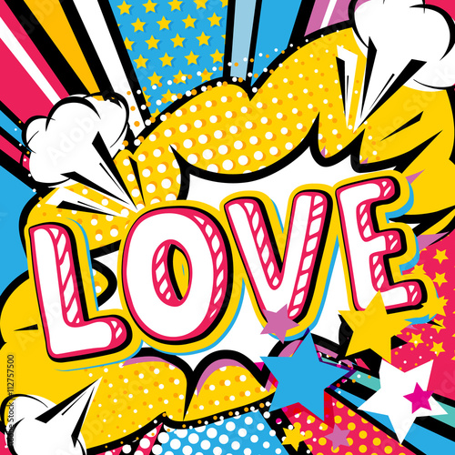 Pop art Love quote type Wallpaper Mural