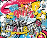 Fototapeta Młodzieżowe - Pop art Big girl love big diamonds quote type with lips, diamonds, ring and stars vector elements. Bang, explosion decorative halftone poster illustration.
