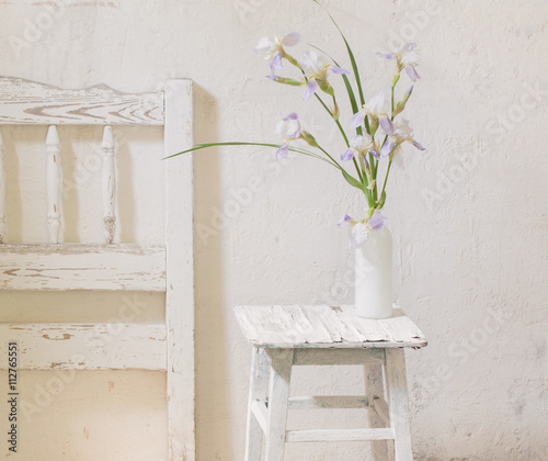 summer bouquet in white interior