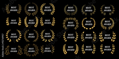 Best award mega set Vector gold award laurel wreath set Canvas Print