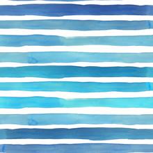 Watercolor Sea Blue Stripes